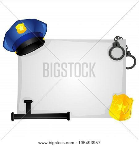 Vector Illustration of Police Elements on Blank Board