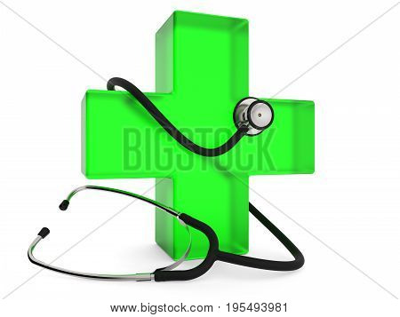Green cross with stethoscope isolated on white background 3D rendering
