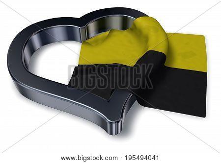 saxony-anhalt flag and heart symbol - 3d rendering