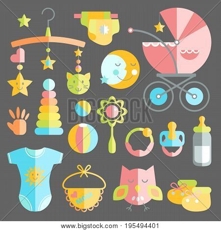 Newborn infant themed cute flat set. Baby care, feeding, clothing, toys, health care stuff, safety, accessories. Vector drawings isolated collection