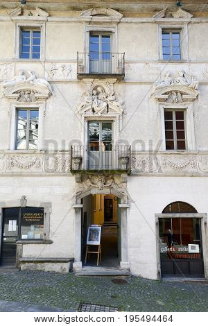 Ascona, Switzerland - 19 October 2014: Old house at Ascona on the italian part of Switzerland