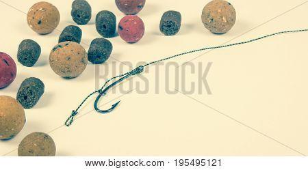 Carp Hook Boilies On The White Background . Closeup .
