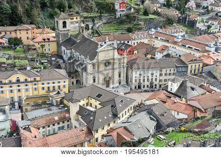 Bellinzona Switzerland - 19 March 2017: Historical old town of Bellinzona in canton Ticino Switzerland
