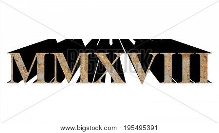 Year 2018 In Stone In Roman Numerals Isolated Over White
