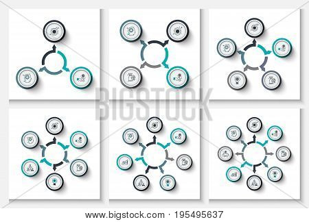 Vector circle infographic. Template for cycle diagram, graph, presentation and round chart. Business concept with 3, 4, 5, 6, 7 and 8 options or processes. Data visualization.