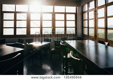 Interior Of Empty Restaurant On Sunny Day