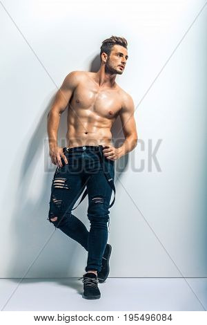 Full Length Portrait Of A Sexy Muscular Shirtless Man