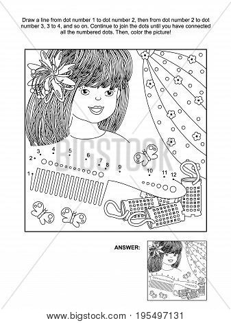 Hairdressing themed connect the dots picture puzzle and coloring page with beautiful girl, comb and curlers. Answer included.