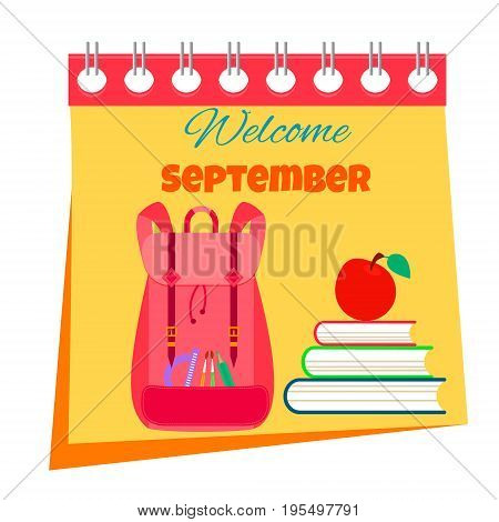 Back to school calendar bright background with text, books, school backpack