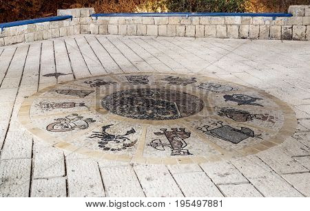 Mosaic  With Signs Of The Zodiac Near The Wishing Bridge At Night In Old City Yafo, Israel.
