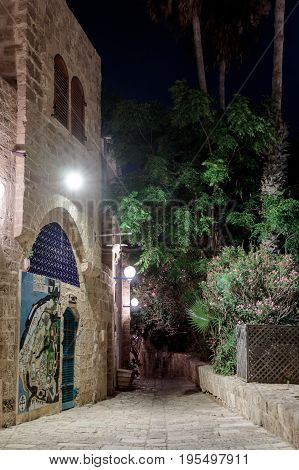 Queet Street - Mazal Tal'e At Night In Old  City Yafo, Israel.