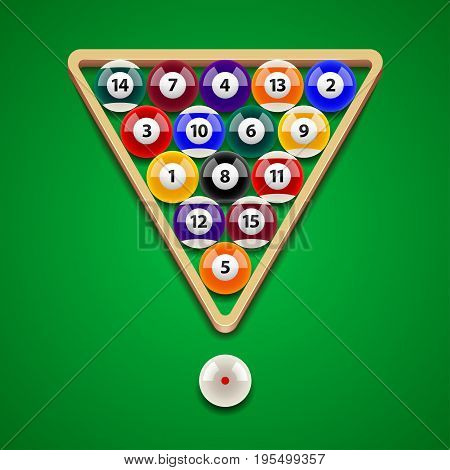 Pool billiard balls on green table photo-realistic vector illustration