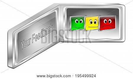 silver Your Feedback Button - 3D illustration