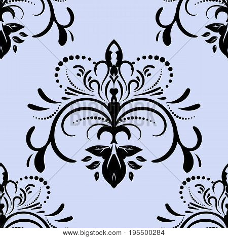 Damask seamless pattern repeating background. ornament letter and in baroque style. Antique repeatable wallpaper.