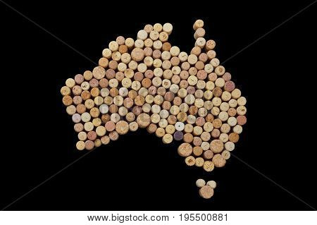 Wine-producing countries - maps from wine corks. Map of Australia on black background. Clipping path included.