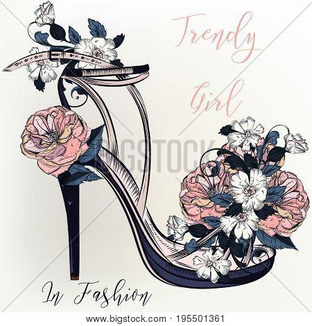 Fashion illustration with elegant female beauty sandal