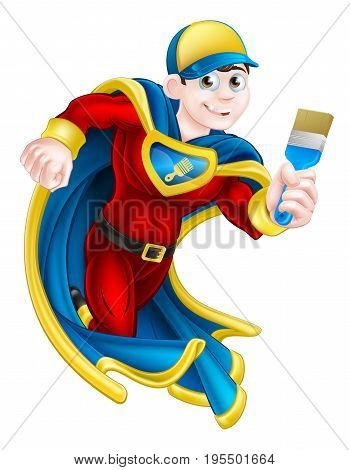 Cartoon decorator or painter superhero mascot holding a paintbrush