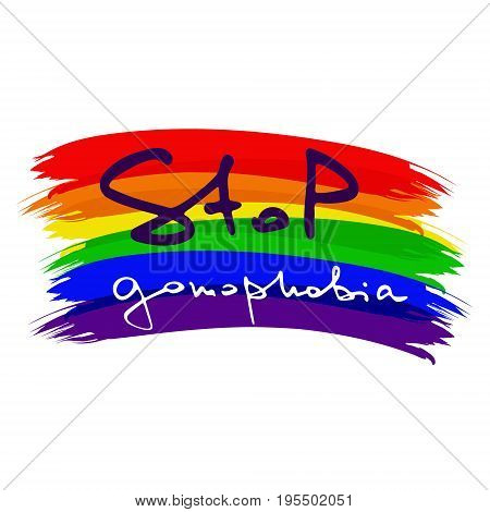 Low poly rainbow . Handwritten text Stop gomophobia. Unconventional sexual orientation for LGBT gay and lesbian parade. Geometric poligonal vector