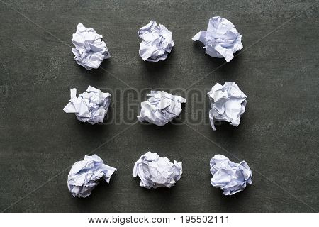 collection of various crumpled paper on black background