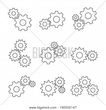 Gear outline flat set. Mechanisms meshing together, getting power through team rotation. Vector flat style illustration isolated on white background