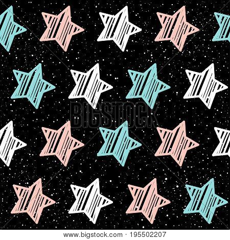 Pastel Star On Black Seamless Background. Pink, White And Blue Star.