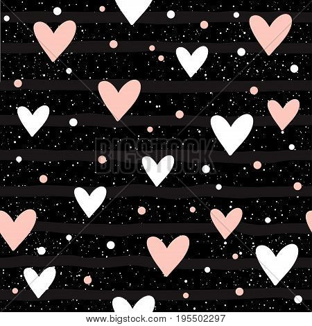 Heart Seamless Background. Abstract Childish Heart Pattern