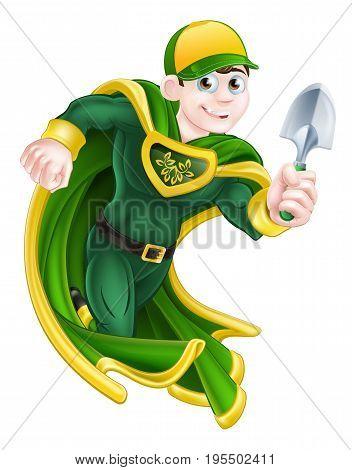 A cartoon super hero gardener character holding a garden trowel tool