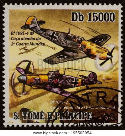 Moscow Russia - July 14 2017: A stamp printed in Sao Tome and Principe shows German fighter aircrafts Bf.109 series
