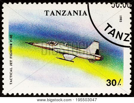 Moscow Russia - July 15 2017: A stamp printed in Tanzania shows American Jet Fighter F5E series