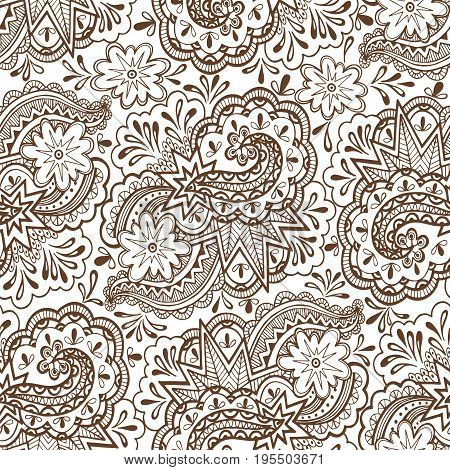 Seamless Abstract Pattern, Calligraphic Outline Figures and Elements, Brown Contours on Tile White Background. Vector