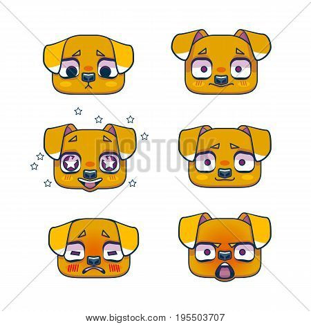 Muzzle puppy or dog, emotion, set. Symbol of the year 2018. Cute doggy head icons. Emotional expression. Vector illustration