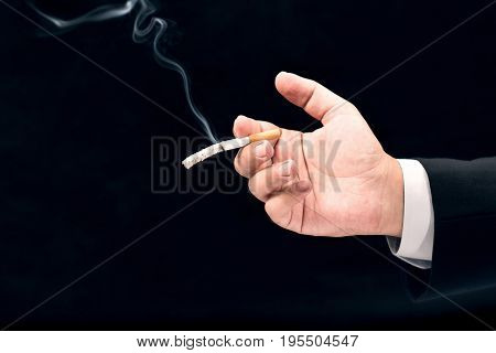 Businessman Smoking Cigarette Concept For Shortening Life Span