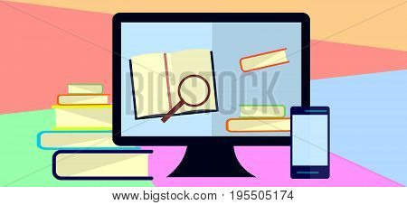 Education infographic Flat illustration for e-learning and online education.