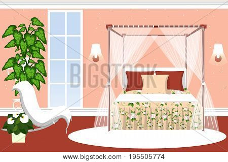Bedroom decor for girls. Luxurious room with a four poster bed and sitting area with plants. Cartoon. Vector illustration.