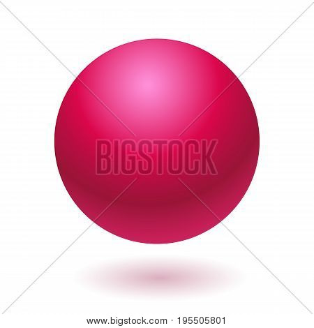 Pink glossy ball vector illustration isolated on white background
