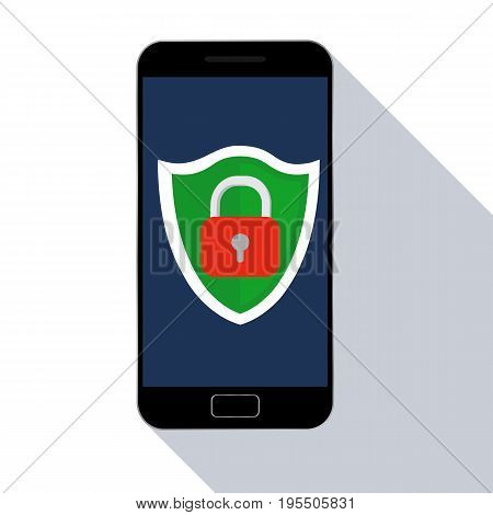 Mobile security app on smartphone with long shadow. Vector illustration. Flat design.