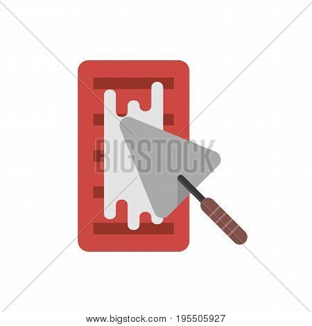 brick with cement and trowel. concept of implement, workshop, household, create, major overhaul, housing construction. isolated on white background. flat style trend modern design vector illustration