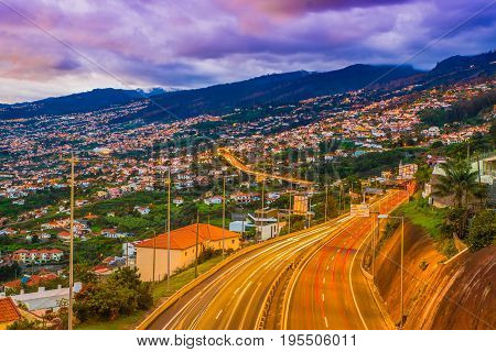 Highway roads in Funchal capital of Madeira Island Portugal