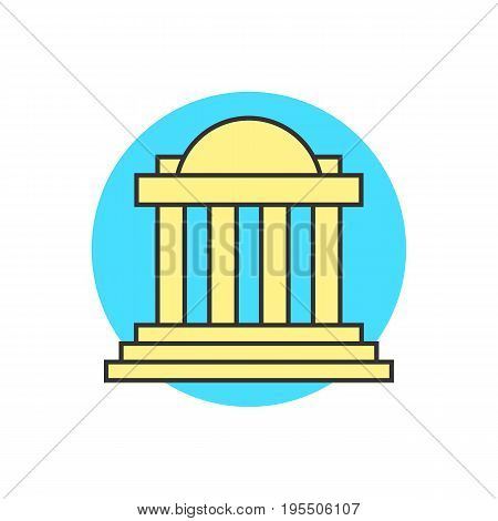yellow justice building on blue circle. concept of capitol, univercity, institute, governmental, temple, tower. isolated on white background. flat style trend modern logo design vector illustration