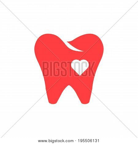 red tooth icon with heart. concept of protection, healthcare, visual identity, hospital, denture, whitening. isolated on white background. flat style trend modern logotype design vector illustration
