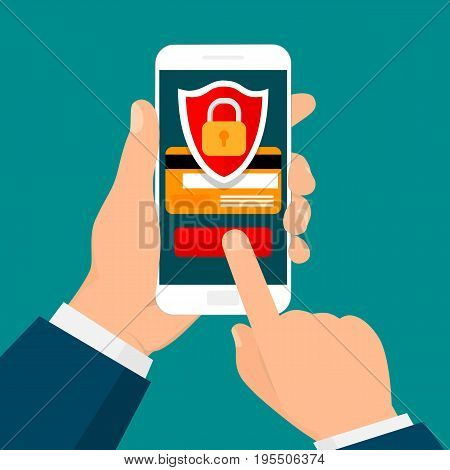Hand holding smartphone. Secure mobile transaction. Security payment, payment protection concepts. Vector illustration. Flat design.