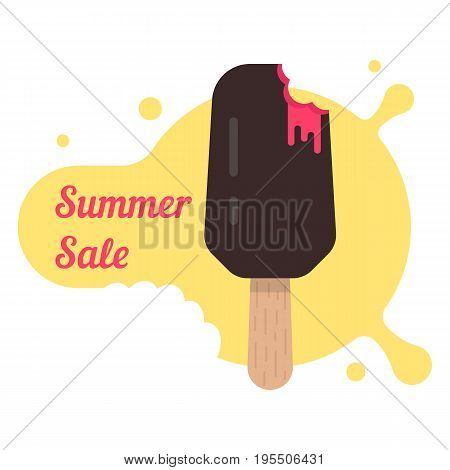 summer sale with popsicle. concept of creame ice lollies, gelato, summer sweetness, beach fruit dessert, bargain. isolated on white background. flat style trend modern logo design vector illustration