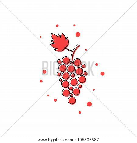 red thin line grape icon. concept of grapevine, grape juice, winery, restaurant beverage, ripe grapes. isolated on white background. flat style trend modern logotype design vector illustration