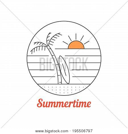summertime icon with thin line beach. concept of postcard emblem, surfboard, sunny landscape, journey. isolated on white background. linear style trend modern logotype design vector illustration