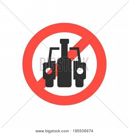 prohibition sign no drink driving. concept of placard, drinker, bad habit, human problems, inebriate. isolated on white background. flat style trend modern logotype design vector illustration