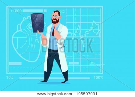 Doctor Examining Xray Medical Clinics Worker Hospital Surgery Flat Vector Illustration