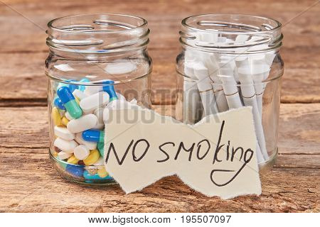 Nicotine addiction harmful for life. No smoking cigarettes concept.