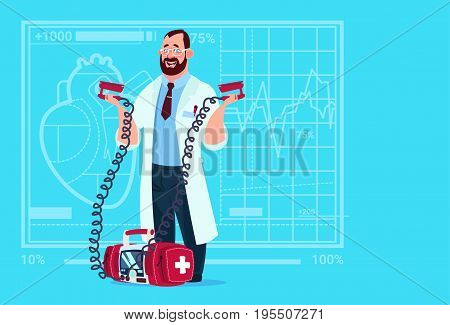 Doctor Hold Defibrillator Medical Clinics Worker Reanimation Hospital Flat Vector Illustration