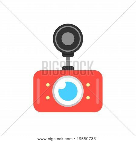 red car dvr icon. concept of digital video recorder, accident prevention, recording apparat, cctv monitor. isolated on white background. flat style trend modern logo design vector illustration