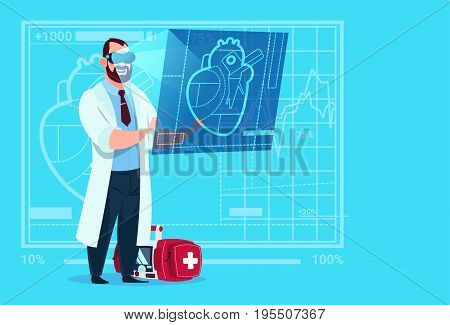 Doctor Cardiologist Examining Digital Heart Wear Virtual Reality Glasses Medical Clinics Worker Hospital Flat Vector Illustration